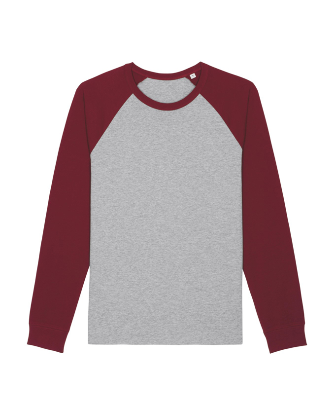 heather grey - burgundy