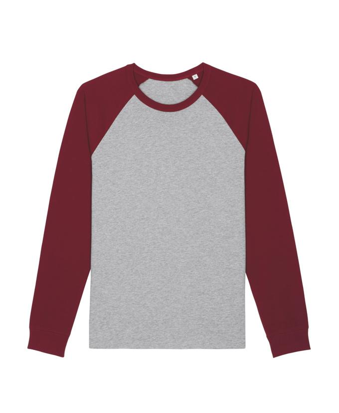 heather grey - burgundy