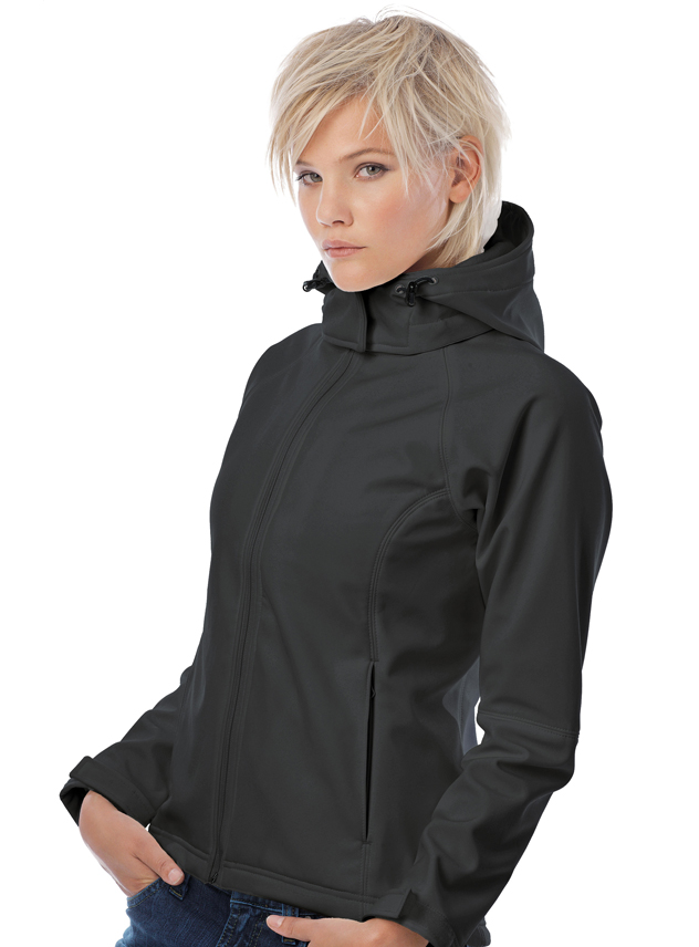 Softshell Jas dames B&C Hooded