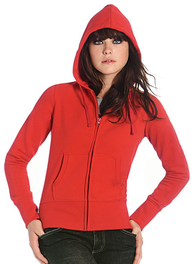 Sweater dames B&C Hooded zip